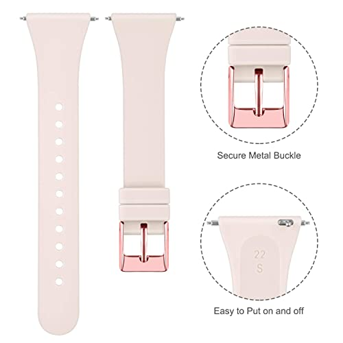 Tobfit Silicone Slim Band Compatible for Fitbit Versa//Lite//SE Narrow /& Thin Sport Wristband with Metal Buckle for Women//Men