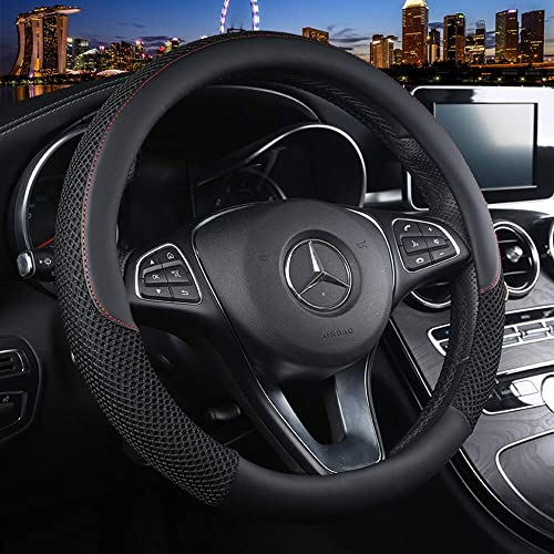 Anti-Slip Labbyway Beige Microfiber Leather Steering Wheel Cover Universal 15 inch Odorless Warm in Winter and Cool in Summer Breathable