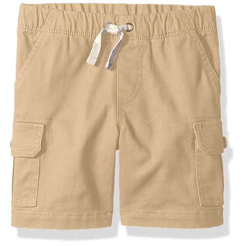 Bienzoe Boys Summer Elastic Waist Print Cuff Twill Shorts