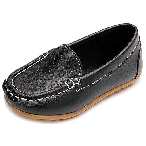 UBELLA Toddler Boys Girls Soft Split Leather Slip-On Loafer Boat Dress Shoes