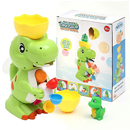 Gizmovine Dinosaur Baby Bath Toys for Toddlers 12 Pack Bathtub Toys for Boys and Girls Safe Dinosaur Figures Playset Water Squirts Toys for Bathtub with Bath Toy Organizer