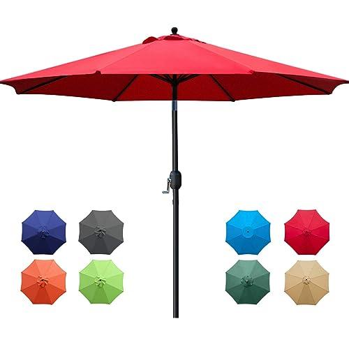 Sunnyglade 9ft Patio Umbrella, Red Patio Table Umbrella