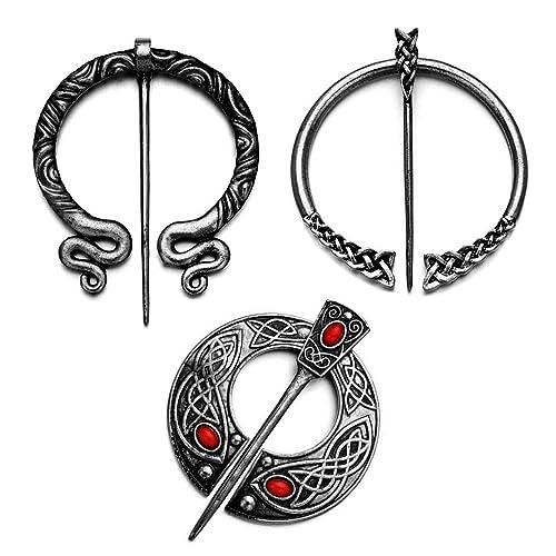 QIHOO Vintage Viking Norse Fibula Penannular Brooch,Apron Buckle Clasp Cloak Pin
