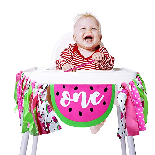 Baby First Birthday High Chair Decoration Party Banner Garland ONE for Boy Girl