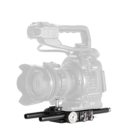 JTZ DP30 Universal 15mm Baseplate Rail Rod Rig with Quick Release Slide Lock Clamp for Nikon Canon Sony DSLR Video Camera Camcoder etc.