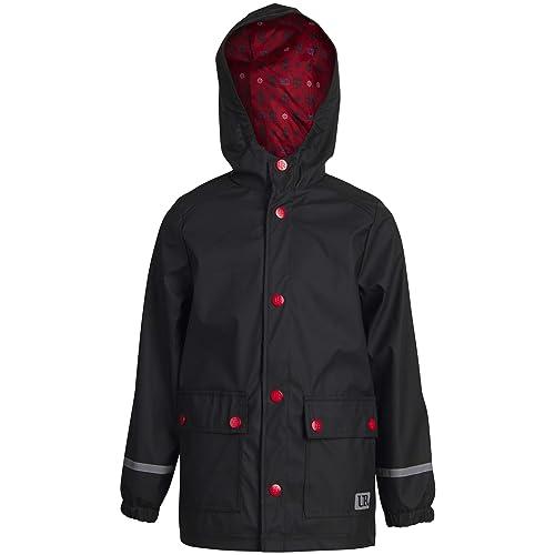 Green Urban Republic Boys Waterproof Vinyl Hooded Rain Jacket with Snap Closure Size 14//16