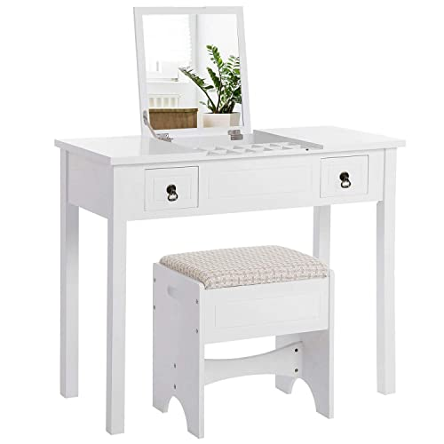 Vasagle Makeup Vanity Set With Flip, Rotation Removable Mirror Dressing Vanity Table Makeup Desk With Stool White