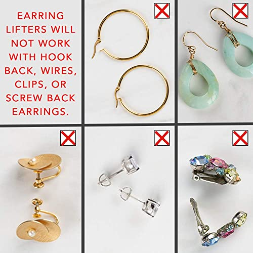 6 Pairs Earring Lifters Adjustable Hypoallergenic Earring Secure Backs Lifters for Droopy Ears