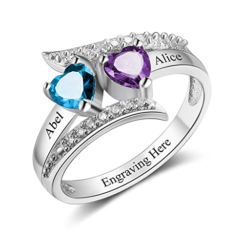 Bishilin Stainless Steel Couple Rings Solitaire CZ Promise Rings for Couples with 2 Rings Women Size 5 /& Men Size 10