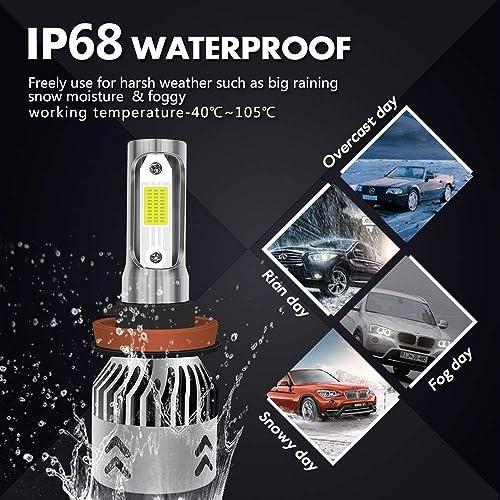 2pcs 9005 H10 HB3 100W LED 8000K Iceberg Blue Projector Fog Driving Light Bulbs