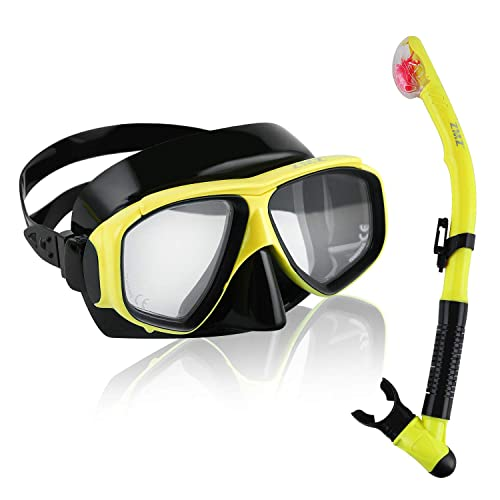 Tempered Glass Lens Silicone Clear View Snorkel Mask Easy-Breath Dry Snorkel Mares Italian Design Palau Adjustable Snorkeling Fins Scuba Snorkel Set