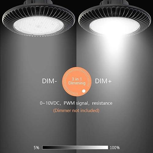 Viugreum 100W UFO Industrial Pendant Ceiling Lights LED High Bay Light Indoor//Outdoor 9000LM Commercial Hanging Chandelier IP65 Floodlights 6500K Daylight White Garage Lighting Fixtures/…