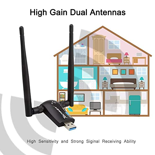 Wireless USB WiFi Adapter Mac OS X Techkey 1200Mbps Dual Band 2.4GHz//300Mbps 5GHz//867Mbps High Gain Dual 5dBi Antennas Network WiFi USB 3.0 For Desktop Laptop with Windows 10//8//7//XP