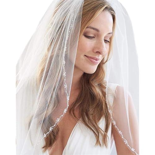 Cibelle 2 Tiers Long Sheer Tulle Bridal Veil Ribbon Edge Wedding Veil with Comb