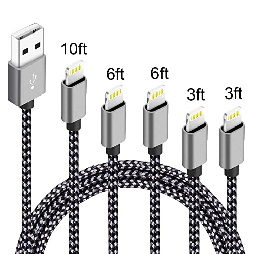 90 Degree Lightning Cable,5Pack 3FT 3FT 6FT 6FT 10FT iPhone Charger Pack Extra Long Nylon Braided USB Fast Charging/&Syncing Cord Compatible with iPhone Xs MAX//XR//X//8 Plus//7 Plus//6 Plus//6