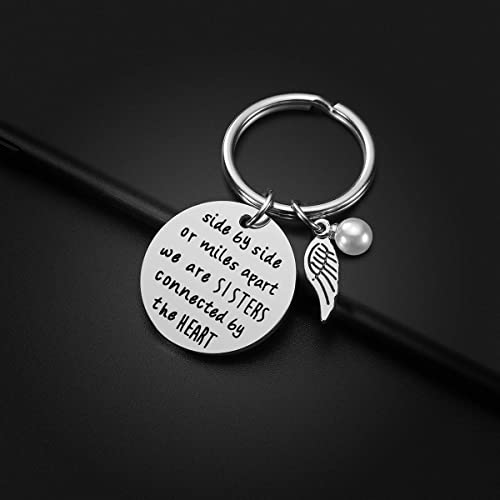 Sister Gift from Sister Side by Side or Miles Apart Sisters are Always Close at Heart Sister Keychain Sister Jewelry Christmas Birthday Gifts for Sisters