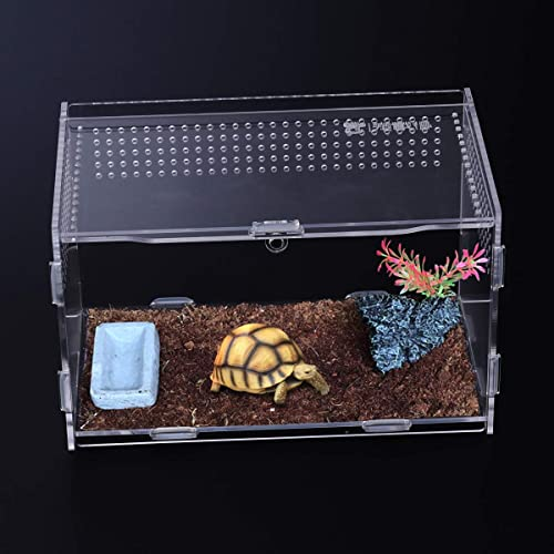 POPETPOP Turtle Tank Box with Platform Turtle Habitat Container with Handle Cover
