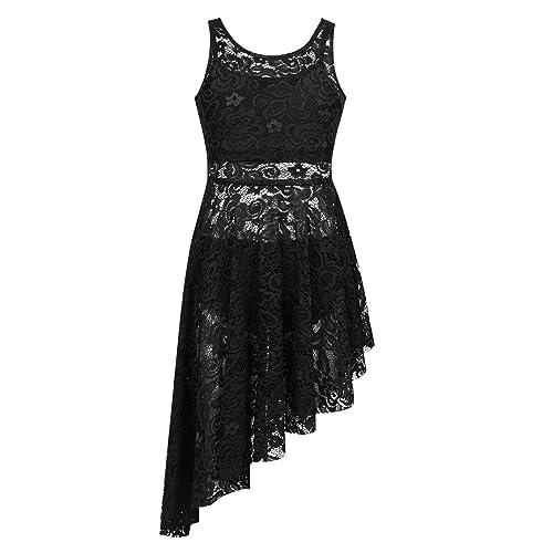 YONGHS Kids Girls Lyrical Modern Contemporary Performance Halter Sequins Criss Cross Back Leotard Dress Dancewear