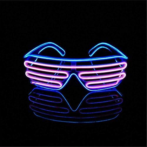 PURPLE Festival Fancy Dress 80s Style LED Flashing Shutter Shades
