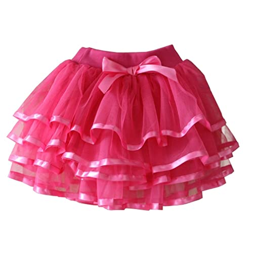 storeofbaby Little Big Girls Tutu Skirt 4-Layered Tulle Holiday Party Dress Up Skirts 2-13 Years
