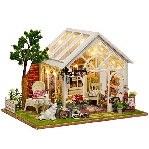 VKStar Pink DIY Dollhouse Kits Girls Miniatures Collection Teenagers Dollhouse Miniature Adults Gifts Dollhouse Toys Mini Furniture with Dust Proof Music Box