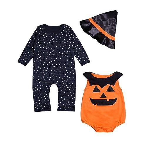 Baby Boy Girl Halloween Pumpkin Costume Outfit Fancy Dress Clothes Romper Set