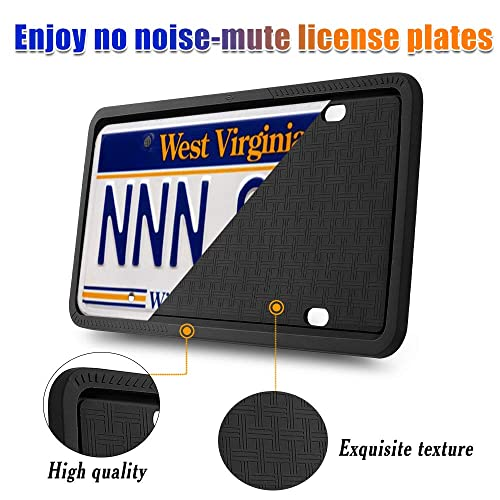 Rattle-Proof Silicone License Plate Frame with Rust-Proof Black License Plate Frame with Screws /& Screwdriver GLISTON License Plate Frame Weather-Proof 2 Pack