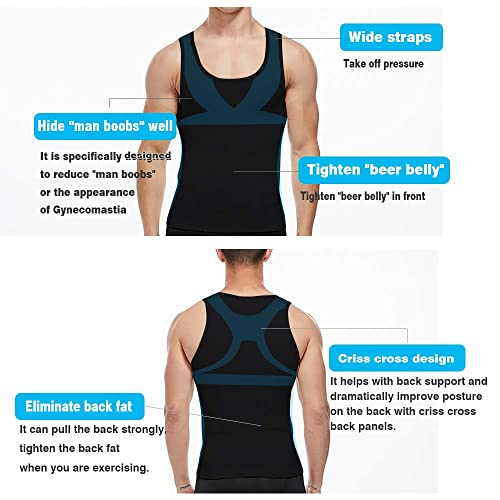 COOFANDY Mens 2 Pack Slimming Body Shaper Vest Compression Shirt Gym Workout Tank Top Sleeveless Abdomen Shapewear
