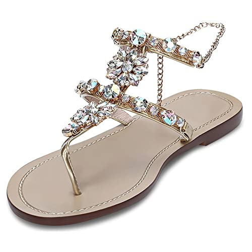 Stupmary Women Flat Sandals Crystal Summer Gladiator Sandals Flip Flops Beach Party Shoes Chains Floral