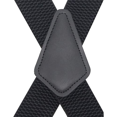 """X-Back Strong Clips Black Decalen Men/'s Suspenders 1.5/"""" Adjustable Stretchable"""