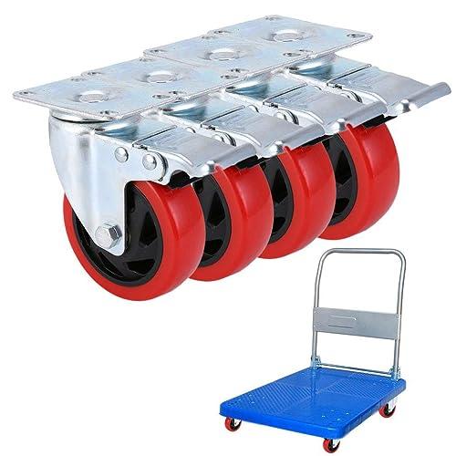 4x Heavy Duty 240kg M8x25mm PU Swivel Castor Wheels Trolley Furniture Caster