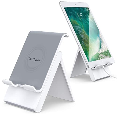 BONUSIS Cell Phone Stand Adjustable Universal Multi-Angle Charging Mobile Dock Aluminum Desktop Holder Portable Phone Cradle Mount Compatible with All iPhone Android Smart Phone Black