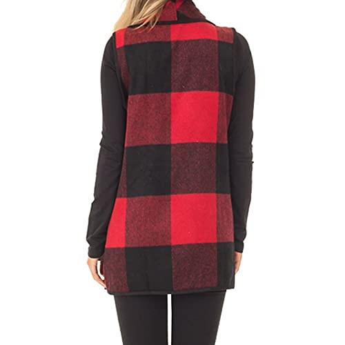 ROMWE Womens Sleeveless Button Waterfall Collar Open Front Asymmetrical Hem Cardigans Vest