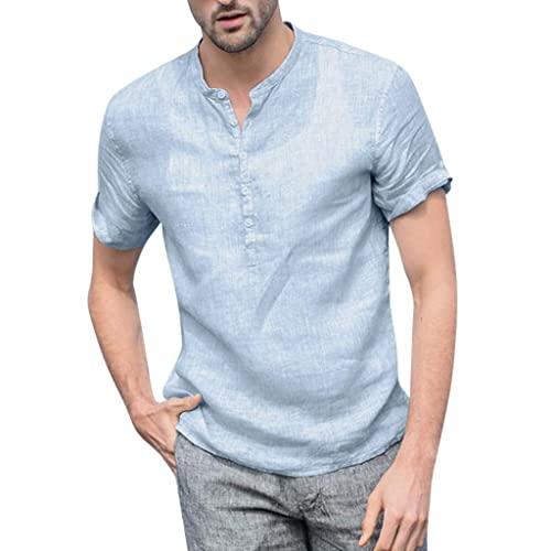 VANCOOG Mens Casual Slim Fit Basic Henley Short Sleeve T-Shirt