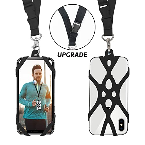 Huawei ROCONTRIP Phone Lanyard Silicone Case Cell Phone Lanyard Strap with Adjustable Neck Strap and Detachable Finger Ring Stand for 4.7-6.5 inch Smartphone Universal for iPhone 11,X,8,7,6S Galaxy