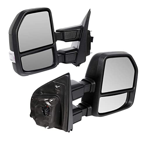 CTCAUTO Towing Mirrors Compatible with 2017-2019 Ford F250 F350 F450 Super Duty Tow Mirrors with Driver and Passenger Side Power Adjustment Heated with Turn Signal Light