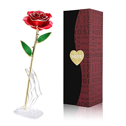 24k Gold Plated Rose Flower Anniversary Girlfriend Wife Romantic Gift Box Bag