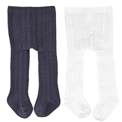 VWU Little Big Girls Tights Seamless Pantyhose Cable Knit Cotton 2 Pack