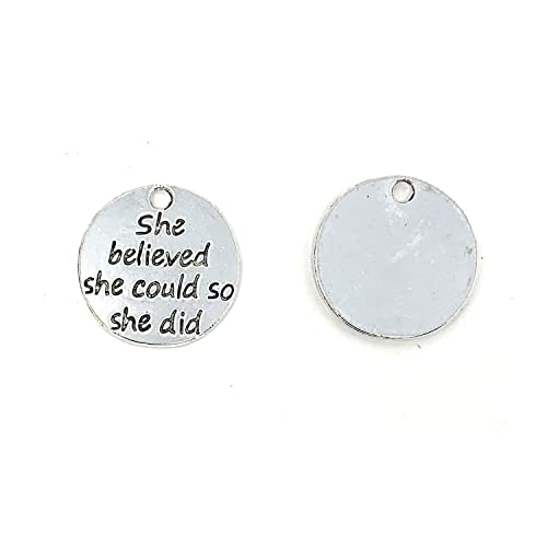 Sliver Tone AIEX 120 Pieces Inspirational Word Charms Pendants Rectangular Pendants for Jewelry Making Fashion Accessories and Craft Supplies DIY Bracelets Necklaces