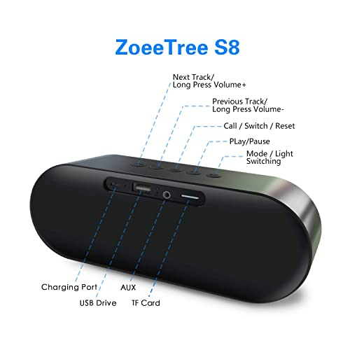 ZoeeTree S3 Wireless Bluetooth Speaker Durable for Home 10W Dual Drivers Portable Stereo Speaker TF Card Slot HD Sound and Enhanced Bass Travel Outdoor V4.2+ EDR Speakers Built-in Mic