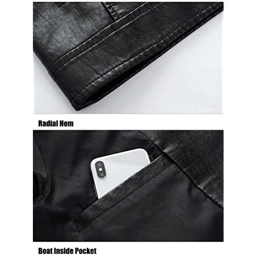 FTIMILD Mens Faux Leather Jacket Lapel Motorcycle Outwear Jackets
