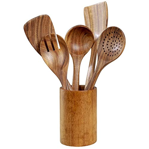 Wooden Utensils Set Wood Spoons Spatula Ladle Colander Tool GEEKHOM Set of 6 Kitchen Cooking Utensils Set for Non Stick Cookware