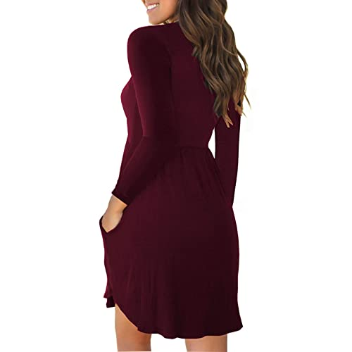 Unbranded* Womens Long Sleeve Loose Plain Dresses Casual Short Dress with Pockets