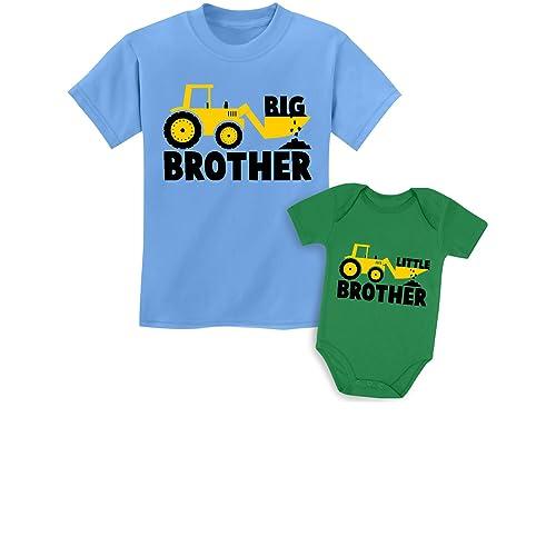 Little Brother Tractor Loving Boys Baby Onesie TeeStars
