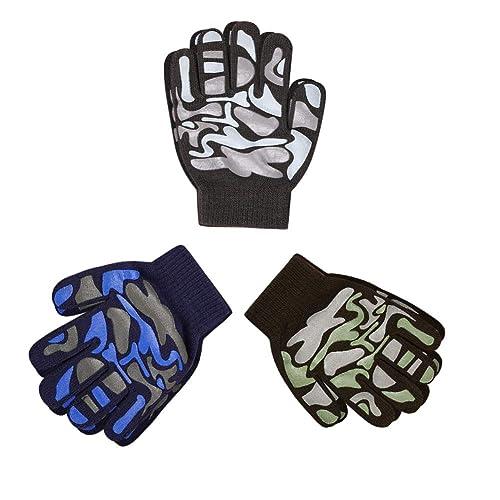 6 Pair Kids Size Gilbin Magic-Stretch Gripper Glove Colorful Set