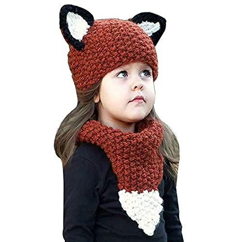 HETH Unicorn Hat with Scarf Pocket Hooded Knitting Beanie Set for Girls