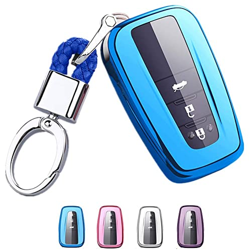 Mofei for Toyota Key Fob Cover - TPU Key Fob Case Sleeve Protector Shell  Keyless Remote Control Smart Key Holder with Key Chain for 2018 2019 Toyota