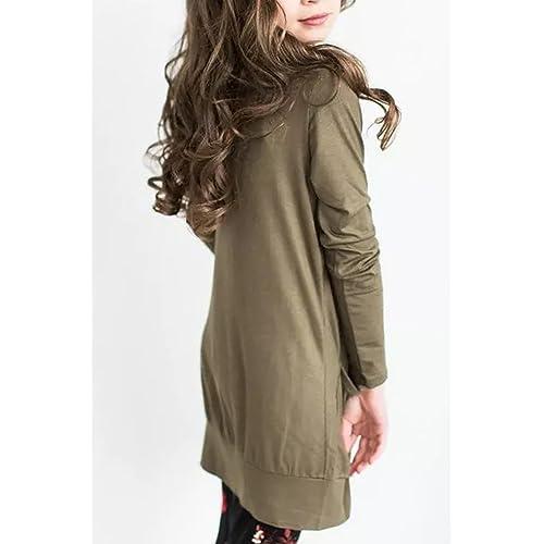 Kids Girls Plain Open Boyfriend Cardigan Long Sleeves Fashion Top Age 2-13 Years