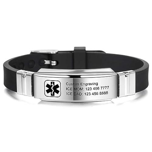 MOWOM Medical Bracelet Custom Engraved Silicone Adjustable Sport Name ID Identification Alert Medical Bracelet for Men Women Stainless Steel Rubber Black Belt Bundle with Emergency Card, Holder