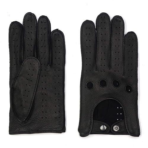 S Tan Harssidanzar Mens Deerskin Leather Driving Gloves Unlined Crochet